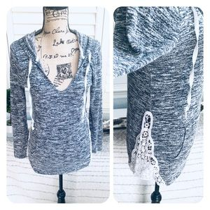 Hooded lace grey sweater